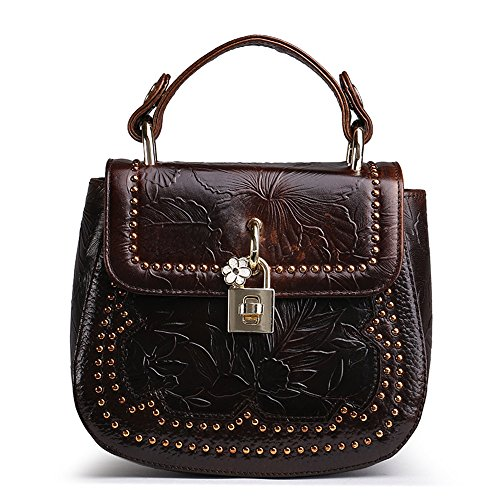 GWQGZ The New Oil Wax Bag Lock Retro Fashion Personality All-Match Shoulder Diagonal Handbag