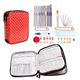 Teamoy Aluminum Crochet Hook Set, Organizer Case for Crochet Kit and Complete Accessories, Red Dots