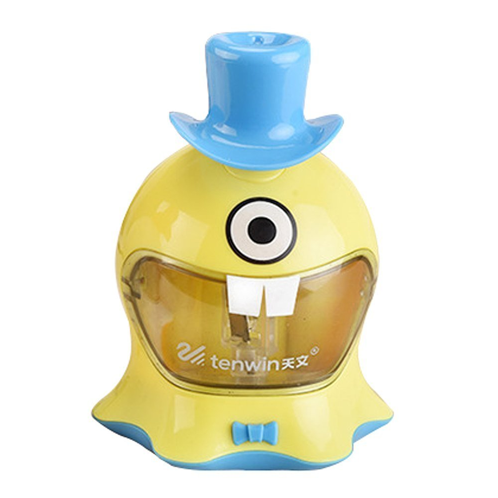 Cute Novelty Battery Operated Pencil Sharpener for Kids, Funny Automatic Electric Classroom Pencil Cutter for School, Classroom - Yellow