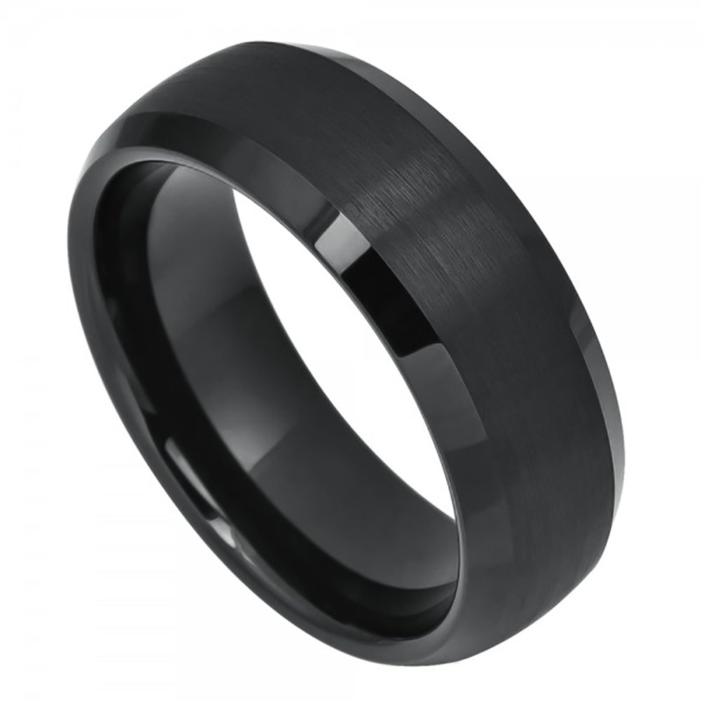 8mm Him or Her Tungsten Carbide Black IP Plated Beveled Dome with Brushed finish Wedding Band Ring