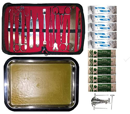 14 Professional Quality Polished Stainless Steel Dissection Tools, A Beautiful Case Includes A Stainless Steel Tray,10 Blades,10 Pins for Biology Medical Veterinary Students - Rats and Frogs Hate US