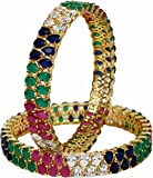RATNAVALI JEWELS CZ Zirconia Gold Tone Multi Color