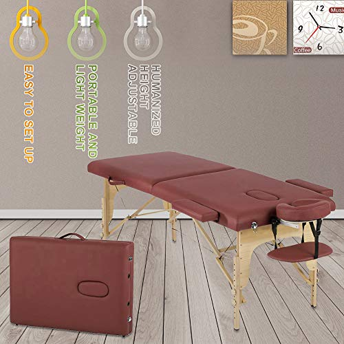 Folding Portable Massage Table Lash Bed Height Adjustable Spa Bed with Carry Case Facial Beds for Esthetician Salon Bed Tattoo Wax Table, 73 Inch, Burgundy