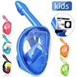 QingSong Kids Snorkel Mask Full Face, Snorkeling Mask with Detachable Camera Mount, 180 Degree Panoramic View Snorkel Set Anti-Fog Anti-Leak