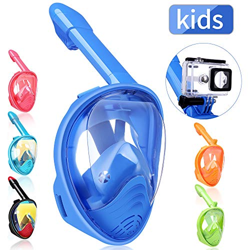 QingSong Snorkel Mask Full Face, Snorkeling Mask for Adults and Kids with Detachable Camera Mount, 180 Degree Large View Free Breath Dry Top Set Anti-Fog Anti-Leak Anti-UV (Best Mask Snorkel Set)