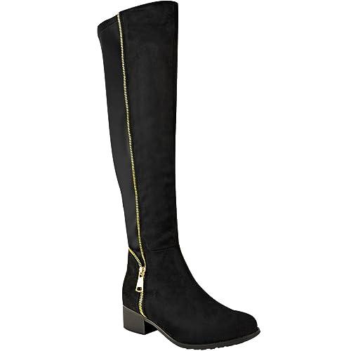 ac5dfaa5f53b1 Fashion Thirsty Donna sopra al Ginocchio Stivali Elasticizzato Oro Zip Tacco  Basso Piatto da Moto Scarpe  Amazon.it  Scarpe e borse