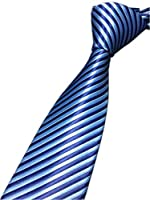 Xiessi Men's Men's Classic Skinny Striped Jacquard Woven Silk Tie Formal Necktie