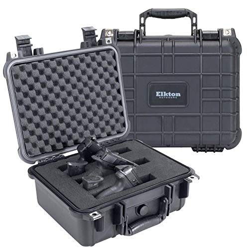 - Elkton Outdoors Hard 3 Gun Case, Fully Customizable Hand-Gun Pistol Case, Holds 3 Handguns and 6 Magazines, Crush Resistant and Waterproof, Black