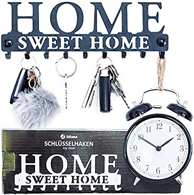 Ahorre tiempo con este perchero de llaves y colgador de abrigos Ganchos de pared en negro satinado Colgador de llaves y percha para abrigos Colgador para abrigos de pared 9 Ganchos 25 x 8.5 cm