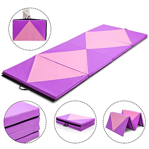 Pink&Purple Exercise Gym Mat 4'x10'x2 Portable Gymnastics Mat Folding Exercise Aerobics Fitness with Ebook