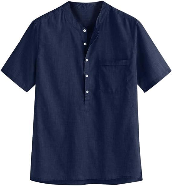 Overdose Camisas Hombre Informal Manga Corta Vintage Shirt Hombre ...