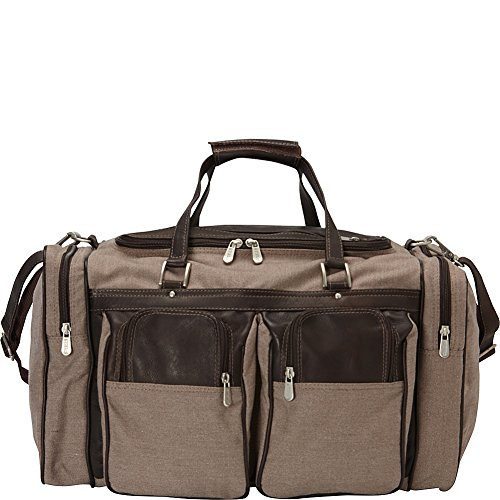 (Piel Leather 20in Duffel Bag with Pockets, Chocolate)