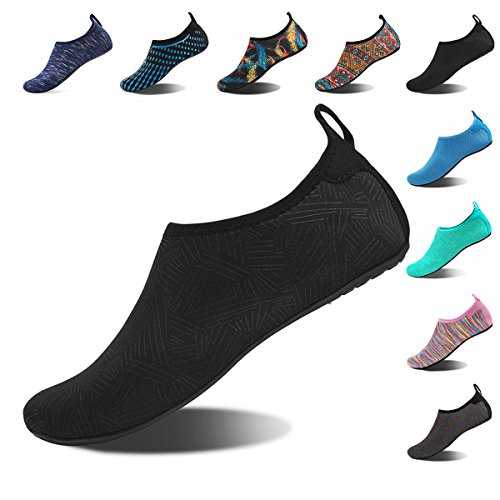 Water Shoes for Womens and Mens Summer Barefoot Shoes Quick Dry Aqua Socks for Beach Swim Yoga Exercise (JH.Black, 38/39)