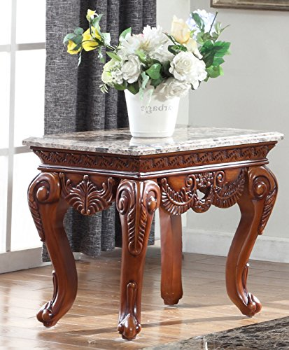 Meridian Furniture 205-E Bordeaux Solid Wood End Table with Traditional Handcrafted Designs and Genuine Marble Top, 27.5