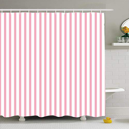 Ahawoso Shower Curtain 60x72 Inches Style Pattern Stripes Abstract Pink Birthday Blank Border Born Brush Design Waterproof Polyester Fabric Bathroom Curtains Set with Hooks