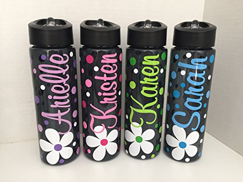 Personalized 24 ounce BPA free water bottle with flower desi