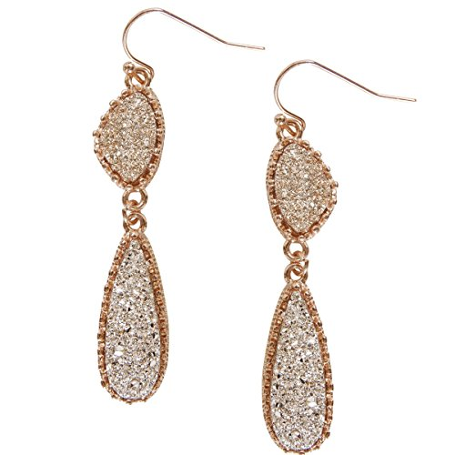 Humble Chic Simulated Druzy Drop Dangles - Gold-Tone Long Double Teardrop Dangly Earrings for Women, Gold-Tone, Metallic, Yellow