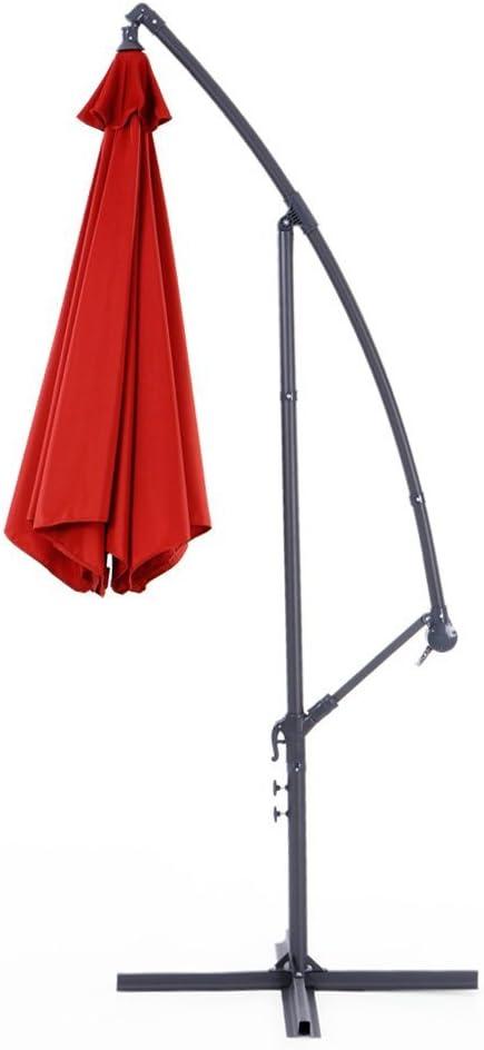 IKAYAA 3 m Ajustable Patio sombrilla jardín para Colgar Paraguas con manivela Cruz Base respiradero Parasol al Aire Libre Cafe Playa sombrilla de Acero 6 Rib de Acero (Terracota): Amazon.es: Hogar