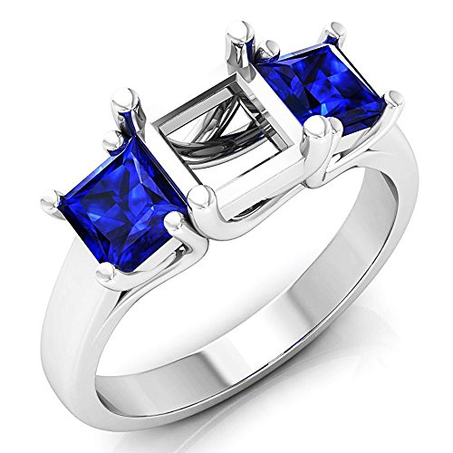 Dazzlingrock Collection 1.40 Carat (ctw) 14K Princess Blue Sapphire Semi Mount Bridal Engagement Ring, White Gold, Size 7