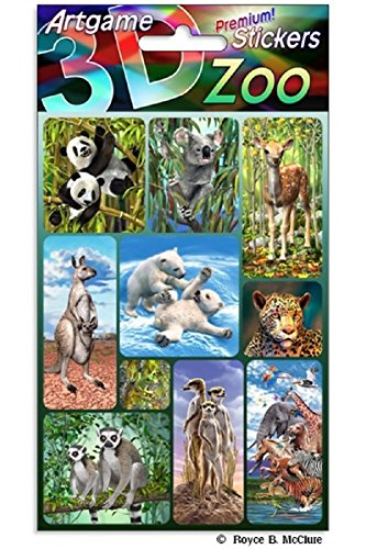 Stickers Lenticular (Artgame Zoo 3D Lenticular Stickers - One Sheet of 10 Assorted Animal Stickers)