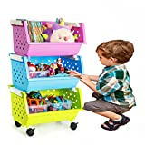 MAGDESIGNER 3 Sets Kids' Toys Storage Organizer with Wheels Can Move Everywhere Large Basket Natural/Primary (Primary Collection) (Purple&Blue&Green)