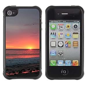 WAWU Funda Carcasa Bumper con Absorci??e Impactos y Anti-Ara??s Espalda Slim Rugged Armor -- sunset sky summer sun orange clouds sea -- Apple Iphone 4 / 4S