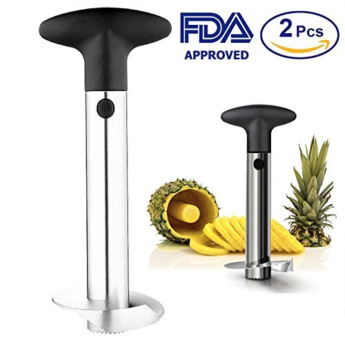 Stainless Steel Pineapple corer cutter slicer, peeler, de corer, 3 in 1 tool fruit best set 2Pcs by BeeHomePower