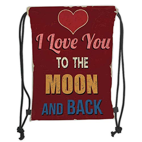 (Custom Printed Drawstring Backpacks Bags,I Love You,Vintage Style I Love You to the Moon and Back Calligraphy Nostalgic Romance Decorative,Ruby Marigold Soft Satin,5 Liter Capacity,Adjustable Str)