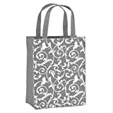Illumen Reusable Fabric Gift Bags with Handles: Single Fabric Bag: Unique Small and Eco Friendly (2, Grey Floral)