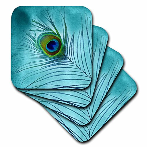Peacock Coasters (3dRose cst_211236_2 Peacock Feather on Turquoise Background Soft Coasters, (Set of 8))