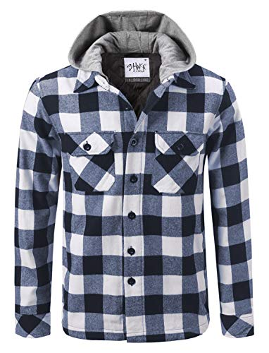 Shaka Wear FFJ0103_3X Hooded Flannel Jacket Quilted Iined White/Navy 3X ()