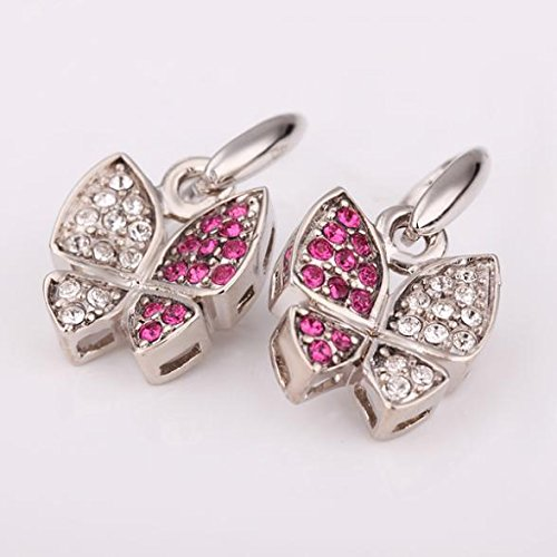TKHNE Cocoon into a butterfly small fresh butterfly earrings diamond earrings rhodium-plated high color retention jewelry butterfly ()
