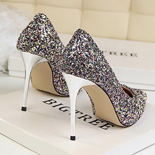 Inconnu Pumps Femmes Pointu Soirée Glitter Escarpins Hauts Mode Aiguille Club Talons Chaussures Multicolore Brillants U4Uqgrw