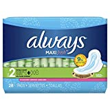 Always Maxi Clean Scent Pads with Wings, Long/Super, 28 Count (Pack of 2)