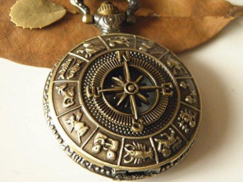 (Antique Bronze Compass Pocket Watch Necklace Jewelry)