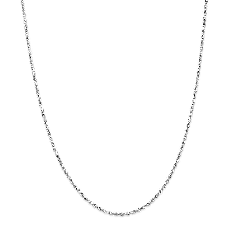 10k White Gold 1.84mm Diamond-cut Quadruple Rope Chain Ankle Bracelet - Length Options: 10 7 8 9