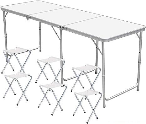 Tavolo Da Giardino Con Barbecue.Nestling Alluminio Tavolino Da Pic Nic Incl 6 Sgabelli Tavolo Da