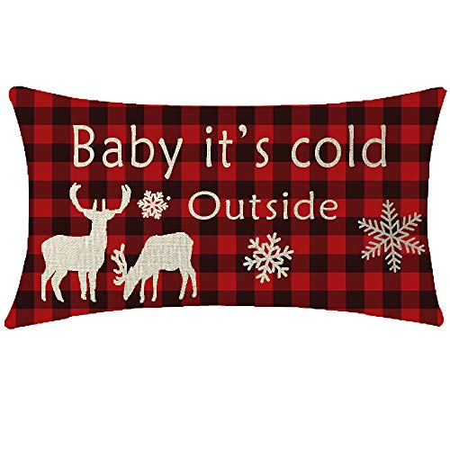NIDITW Deer Reindeer Snowflakes Lumbar Buffalo Checkers Plaids Cotton Burlap Linen Throw Pillow Sham Cushion Cover Outdoor Travel Decorative Long 12X20 Inches (Baby its Cold Outside) (Cushion Reindeer)