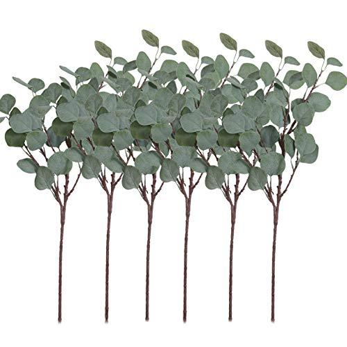 Pauwer 6 Pcs Artificial Silver Dollar Eucalyptus Leaves Spray Fake Greenery Stems Silk Eucalyptus Branch Plant for Home Party Wedding Decoration ()