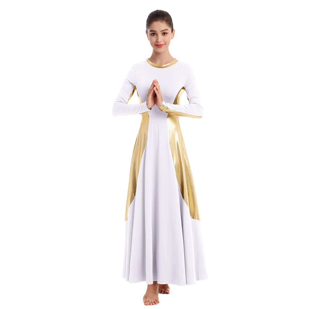 Womens Praise Liturgical Dancewear Robe Long Sleeves Dance Dress Metallic Loose Fit Full Length Tunic Circle Costume Maxi Gown White-Gold XXL by IBAKOM