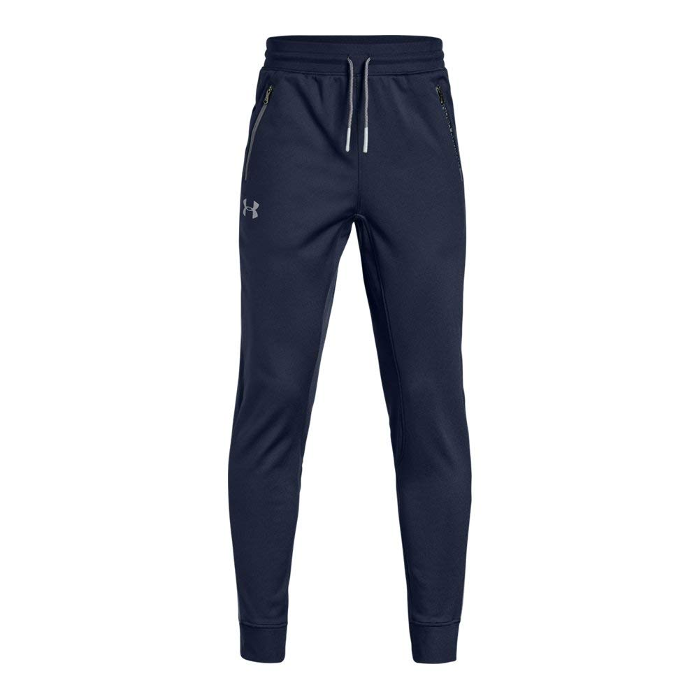 Under Armour Boys' Pennant Tapered Pant, Midnight Navy (410)/Steel, Youth Medium