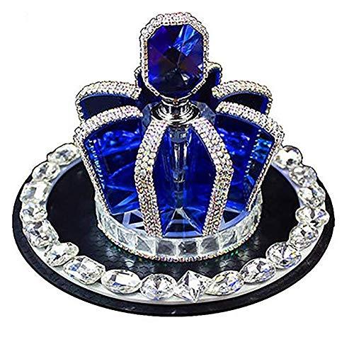 QIEI 3D Bling Crystal Gemstone Diamond Blue Crown Design Refillable Glass Air Freshener Perfume Bottle for Car/Home/Office Decoration (Bottle Only, Perfume NOT - Freshener Air 3d
