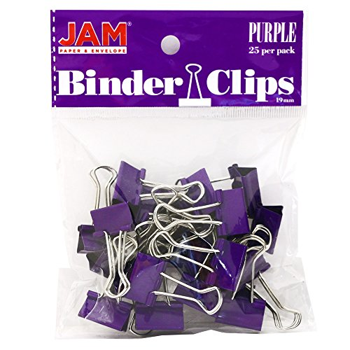 JAM PAPER Colorful Binder Clips - Small - 3/4 Inch (19 mm) - Purple Binderclips - 25/Pack -