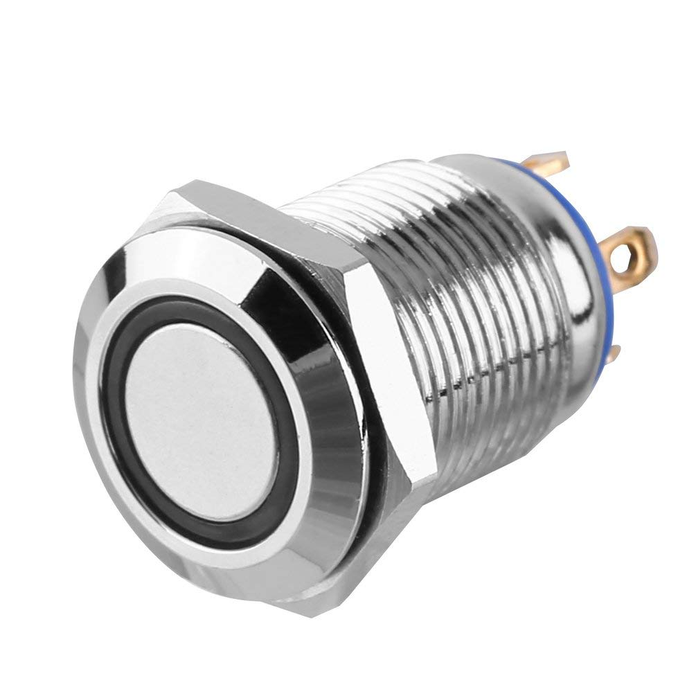 TAOHOU 12V Metal Angel Eye LED Switch Car Iluminado 12mm Interruptor de bot/ón Azul