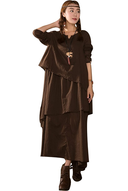MatchLife Damen Irregulär V-Ausschnitt Langarm Level Kleider
