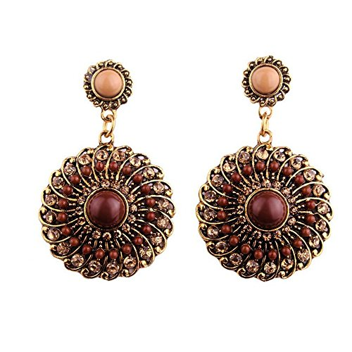 Darkey Wang Woman Fashion Jewelry Bohemian Colored Circle Earrings(Brown)