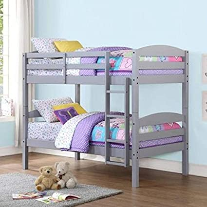 Amazon Com Mainstays Twin Over Twin Wood Bunk Bed With Set Of 2