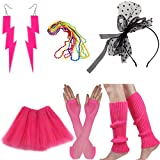 Women's 80s Costume Accessories Set Adult Tutu Skirt Fishnet Gloves Neon Leg Warmer