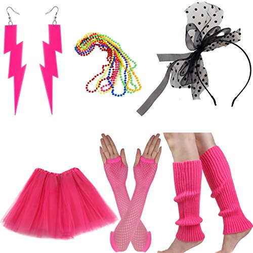 Women's 80s Costume Accessories Set Adult Tutu Skirt Fishnet Gloves Neon Leg Warmer Earrings Beads (Set D)