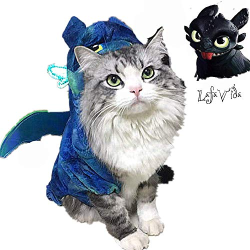 LafaVida How to Train Dragon Cosplay Clothes Costumes Hoodie Jacket for Dog Cat Puppy Pet Night Fury Toothless Cute Wings Tails Blue -